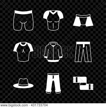 Set Cycling Shorts, T-shirt, Men Underpants, Man Hat, Pants, Winter Scarf, And Hoodie Icon. Vector