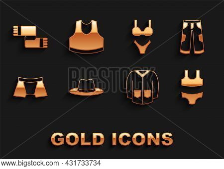 Set Man Hat, Pants, Swimsuit, Sweater, Men Underpants, Winter Scarf And Undershirt Icon. Vector