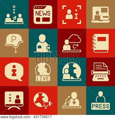 Set Journalist News, Retro Typewriter, Notebook, Television Report, War Journalist, Interview And We