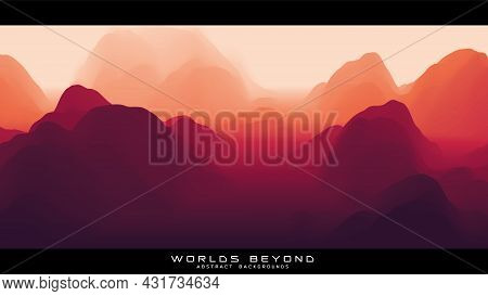 Fog Over Mountains. Vector Landscape Panorama. Abstract Red Gradient Eroded Terrain. Worlds Beyond.