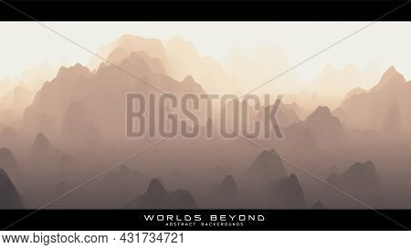 Abstract Beige Landscape With Misty Fog Till Horizon Over Mountain Slopes. Gradient Eroded Terrain S
