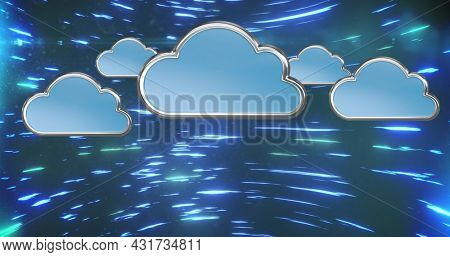 Image of digital interface with blue clouds over spinning blue light trails. Global digital online concept digitally generated image.