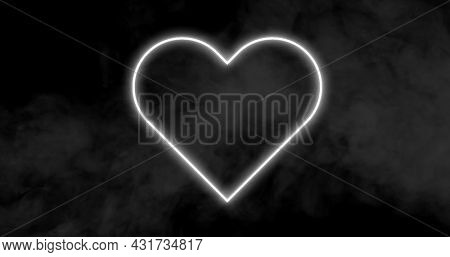 Image of a white heart neon sign with clouds of smoke on black background 4k