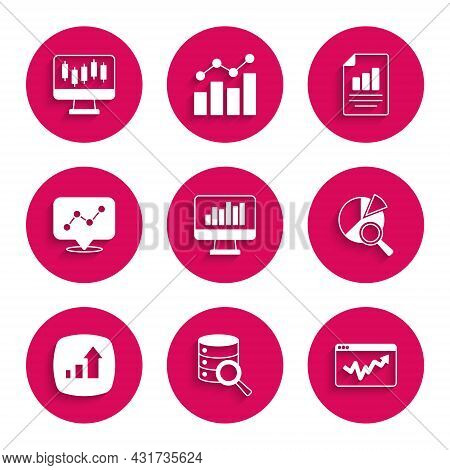 Set Monitor With Graph Chart, Server, Graph Infographic, Search Data Analysis, Financial Growth, Doc