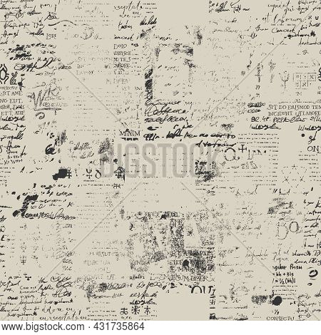 Abstract Seamless Pattern With Fragments Of Illegible Typescript And Handwritten Text, Scribbles, Bl