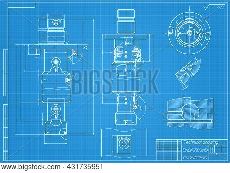 Mechanical Engineering Drawings On Blue Background. Tap Tools, Borer. Technical Design. Cover. Bluep