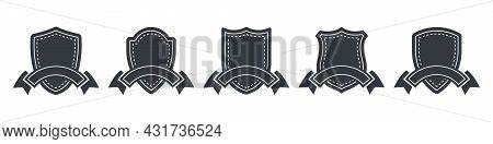 Badges And Stickers. Shilds Badges And Ribbon Elements. Vector Badge And Labels. Vector Illustration