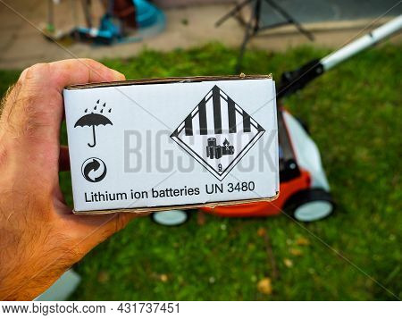 Paris, France - Jun 12, 2021: Unboxing Of New Lithium Ion Batteries With Un 380 Sticker Sign For Sti