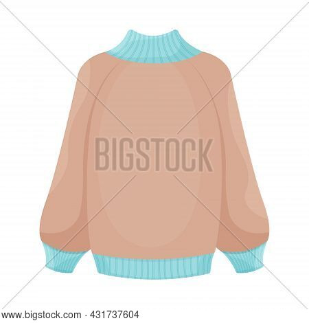 Bright Warm Knitted Sweater In Beige And Blue Colors. Warm Clothes For Walking In Cold Weather. A Wa