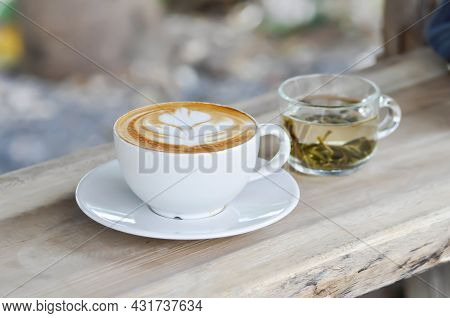 Hot Cofffee, Cappuccino Coffee Or Latte Coffee And Hot Tea Or Cup Of Tea