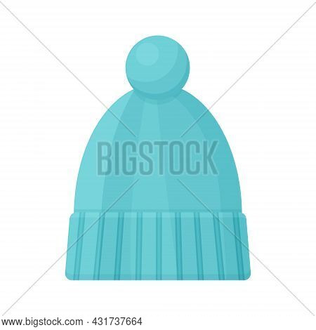 A Warm Children S Knitted Hat Of Blue Color With A Cute Bumbone. A Warm Hat For Walking In Cold Weat