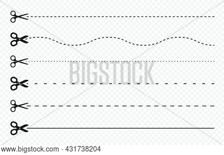 Cut Lines And Dashed Lines, Scissors Icon. Cut Line Guide For Coupon, Tag And Discount Voucher. Blac