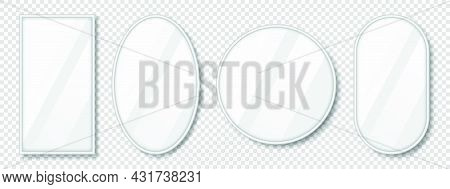 Set Of Mirrors With Reflection In Silver Frame. Realistic Mirrors With Blurry Glass Effect. Mirror S