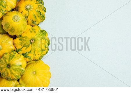Fresh Ripe Pattypan Squashes On Light Background, Flat Lay. Space For Text