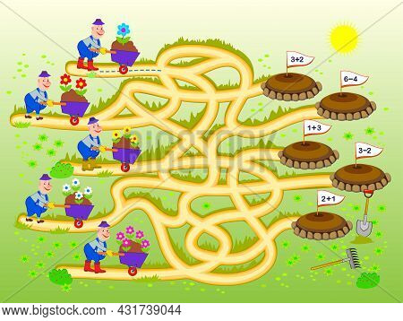 Math Education For Children. Logic Puzzle Game With Maze For Kids. Solve Examples And Help The Garde