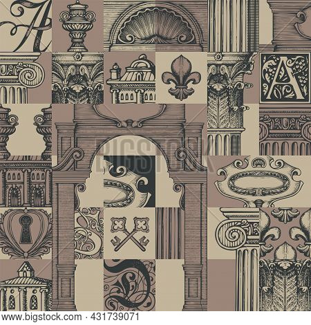 Abstract Seamless Pattern With Hand-drawn Architectural Fragments In Vintage Style. Repeating Vector