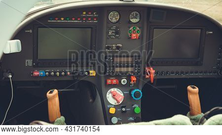 Included Control Panel In The Cockpit Of An Airplane Or Helicopter. Close-up