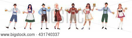Group Of People Of Different Genders, In Traditional German Costumes. Oktoberfest Characters In Retr