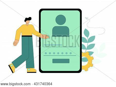 Personal Identification. Verification. Password Confirmation. Personal Data Protection. Vector Illus