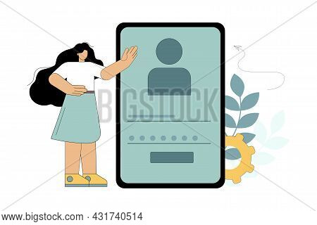 Password Confirmation. Personal Identification. Verification. Personal Data Protection Vector Illust