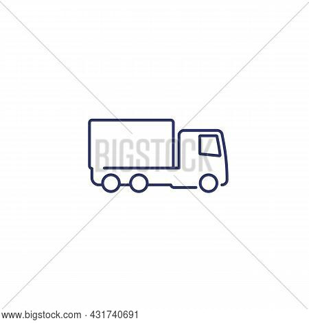 Truck Or Lorry Icon, Line Vector Design
