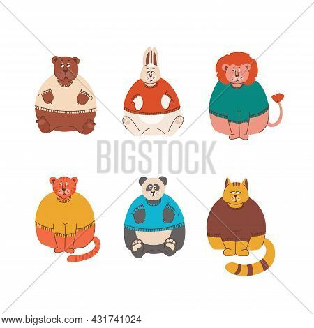 Sad And Grumpy Animals, But Cute Hare, Lion, Bear, Tiger, Cat And Panda In Sweaters. Vector Isolated
