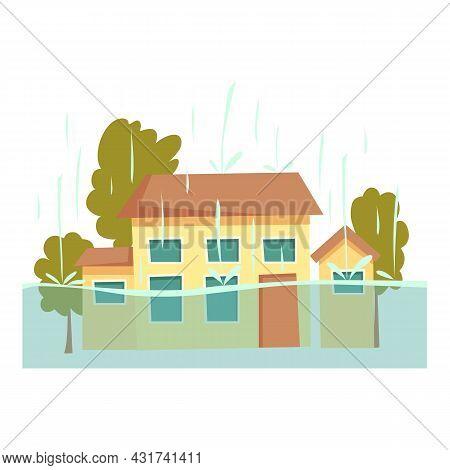 Rain Flood House Icon Cartoon Vector. City Water Disaster. Home Storm Insurance