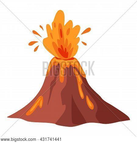 Volcano Icon Cartoon Vector. Lava Magma. Volcanic Eruption