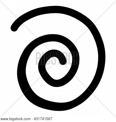 Spiral Line Icon Outline Hand Drawn Vector. Swirl Whirlpool. Snail Circle