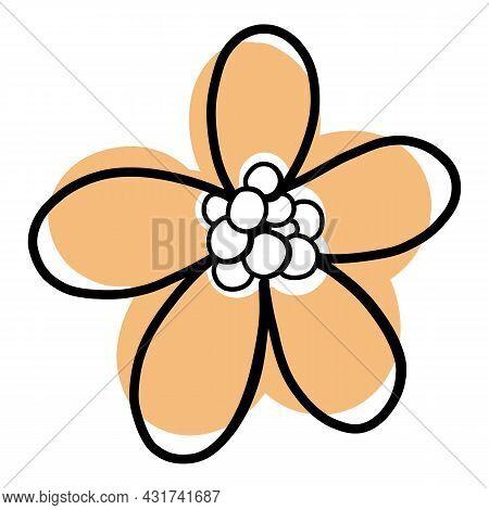 Doodle Flower Icon Outline Hand Drawn Vector. Floral Spring Plant. Summer Flower Leaf