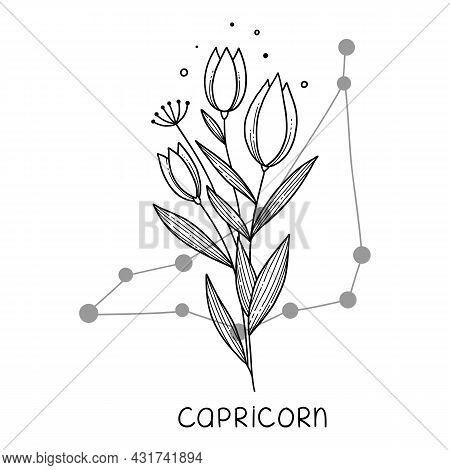 Capricorn Horoscope Flower Icon Outline Vector. Zodiac Sign Astrology. Tattoo Horoscope Flower