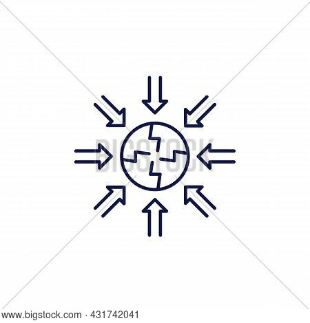 Negative Impact Line Icon On White, Vector