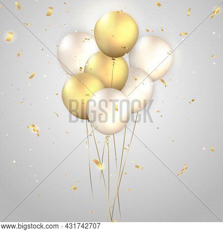 Elegant Golden Silver White Ballon And Party Popper Ribbon Happy Birthday Celebration Card Banner Te