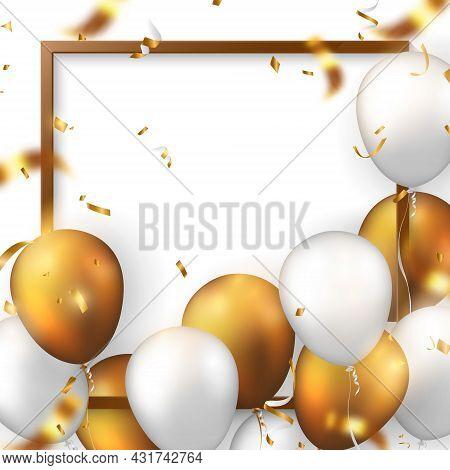 Elegant 3d Realistic Golden White Ballon And Square Frame Party Popper Ribbon Happy Birthday Celebra