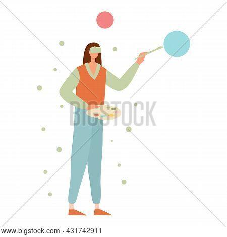 Girl Virtual Paint Icon Cartoon Vector. Vr Art. Virtual Reality Painting