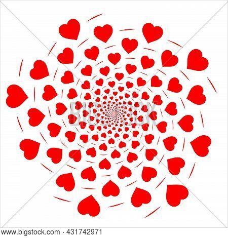 Heart Shaped Rotated In Fibonacci Perfect Pattern