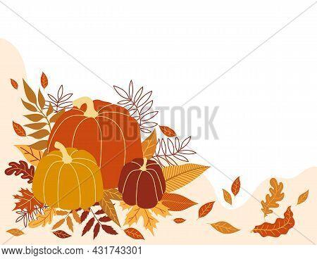 Orange Pumpkin Vector Illustration. Autumn Halloween Pumpkin, Vegetable Graphic Icon Or Stamp. Color