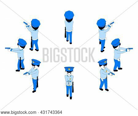 Cartoon Policeman Is Holding A Pistol In His Hands. Police Officer Is Aiming With Handgun From Diffe