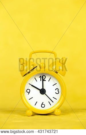 Yellow Clock Vertical Background, Save Time Or Daylight Savings Concept
