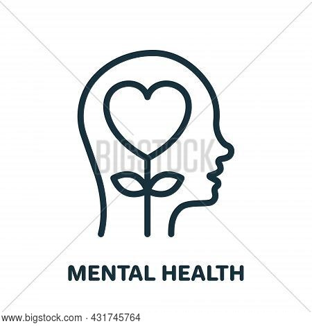 Mental Health Line Icon. Positive Mind Wellbeing Concept Linear Pictogram. Human Mental Health Devel