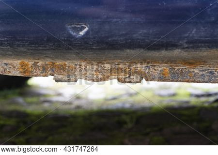 Rusty And Dirty Old Body Car Threshold Damaged By Corrosion. Lack Of Anticorrosion Treatment, Conseq