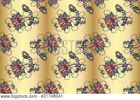 Flowers On Black, Yellow And Beige Colors. Gentle, Spring Floral Background. Raster Floral Pattern I