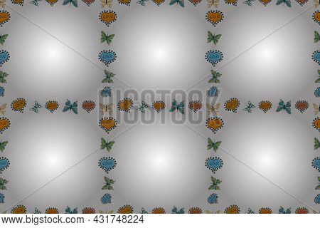 Seamless. Picture In Yellow, White And Black Colors. Raster. Quadratic Frames Doodles.