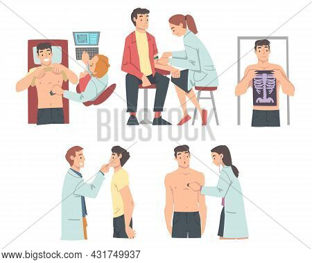 Medical Check-up And Health Screening With Doctor In White Coat Examining Patient Vector Set