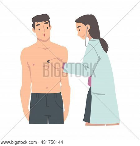 Medical Check-up With Female Doctor In White Coat Examining Patient With Stethoscope Vector Illustra