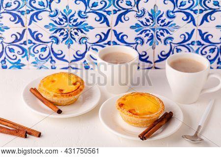 Egg Tart, Traditional Portuguese Dessert, Pastel De Nata/pastel De Belem. Azulejo Tile Background.