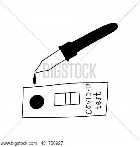Covid-19 Rapid Test. Doodle Hand Drawn Blood Test Kit For Coronavirus Antigen.