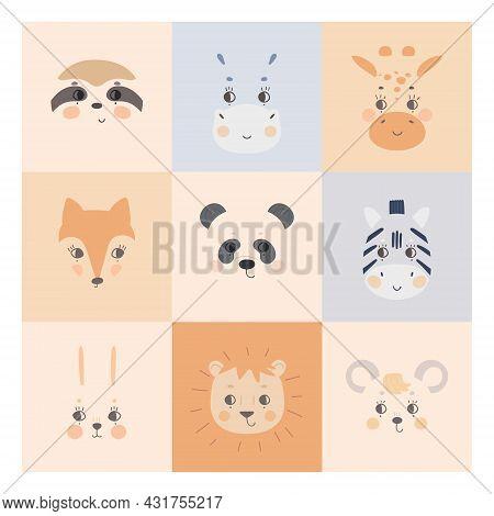 Cute Simple Animal Faces On Colorful Backgrounds. Portrait Of A Cartoon Funny Hare, Zebra, Panda, Sl