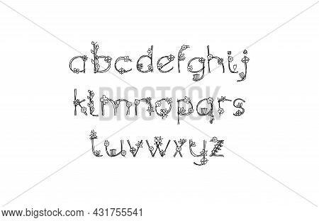 Vintage Floral Bold Logo Spring Alphabet. Classic Summer Letter Design Vector Abc With Black Color A