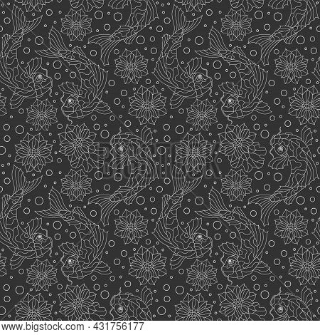 Seamless Pattern Light Dark Contour Koi Carp Fishes, Lotus Flowers And Bubbles On A Dark  Background